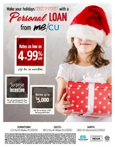 holiday personal loan flyer with girl wearing santa hat and holding wrapped present