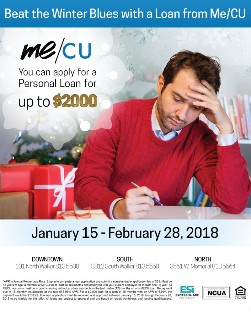 Winter Loan Promotion flyer with gifts and a man working on bills
