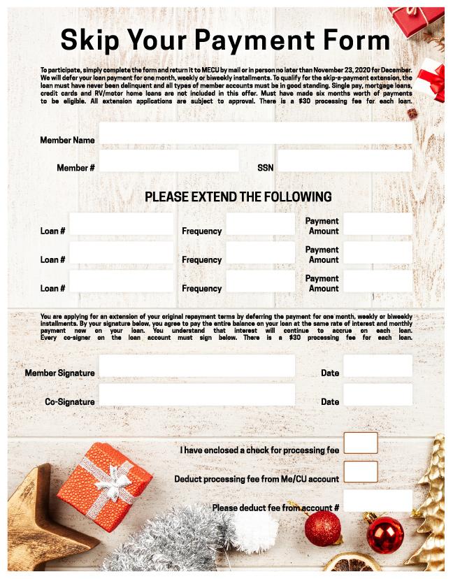 Skip payment offer form for december 2020