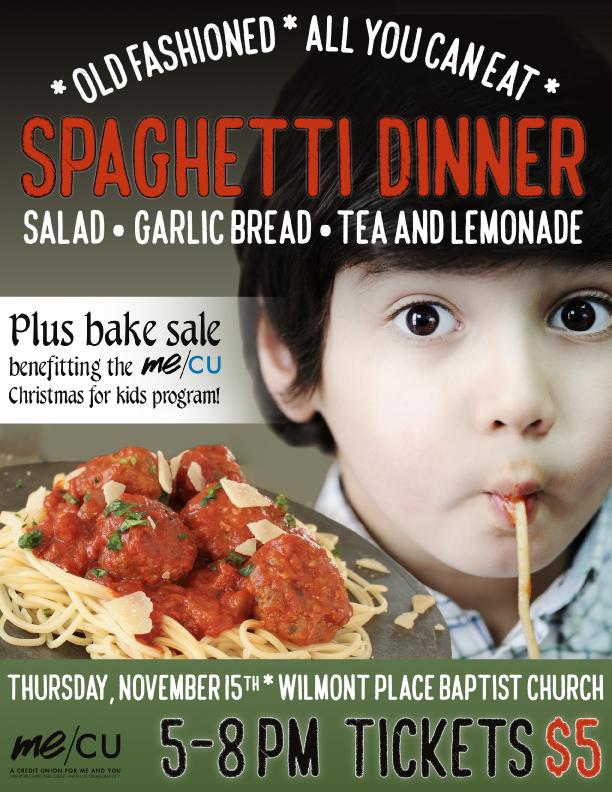 Me/CU Spaghetti Dinner 2018 flyer