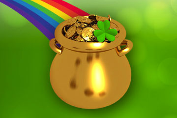 Pot of gold at the end of a rainbow